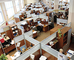 Office interior photo viewed from the top.