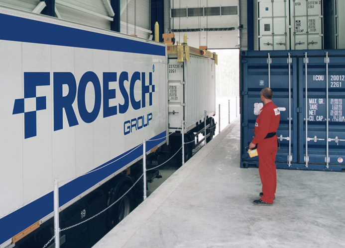 Froesch group containers being loaded.