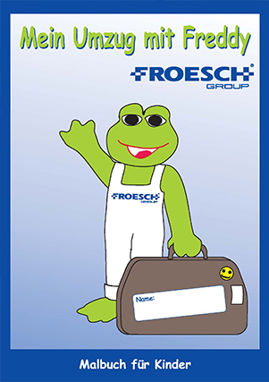 Freddy Froesch group banner with toad and bag character.